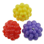 Plastic Pony Beads, Flower, solid color, mixed colors, 14mm, Hole:Approx 2mm, 360PCs/Bag, Sold By Bag