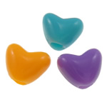 Plastic Pony Beads, Heart, solid color, mixed colors, 12mm, Hole:Approx 4mm, Approx 1100PCs/Bag, Sold By Bag