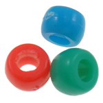Plastic Pony Beads, Rondelle, solid color, mixed colors, Hole:Approx 4mm, 2200PCs/Bag, Sold By Bag