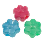 Plastic Pony Beads, Flower, solid color, mixed colors, 11.5x11x7mm, Hole:Approx 3.5mm, Approx 1200PCs/Bag, Sold By Bag