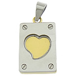 Stainless Steel Pendants, 304 Stainless Steel, Rectangle, gold color plated, two tone, Hole:Approx 5x8mm, Sold By PC