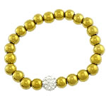 Non-magnetic Hematite Bracelet, with Rhinestone Clay Pave Bead & Elastic Thread, gold color plated, more colors for choice, lead & cadmium free, 10mm, 8mm, Sold Per Approx 7 Inch Strand