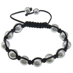 Hematite Shamballa Bracelets, with Nylon Cord, platinum color plated, 8mm, 10mm, Sold Per Approx 6-10 Inch Strand
