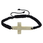 White Shell Shamballa Bracelet, with Nylon Cord & Glass, Cross, black, 44x25x5mm, 4x4mm, Sold Per 8-11 Inch Strand