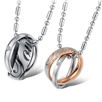 Couple Stainless Steel Necklace, 316L Stainless Steel, Donut, plated, for couple & with Czech rhinestone & two tone, Length:Approx 21.5 Inch, Sold By Pair