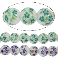 Printing Porcelain Beads, Round, with flower pattern, more colors for choice, 10x9mm, Hole:Approx 3mm, Length:Approx 14 Inch, 38PCs/Strand, Sold By Strand