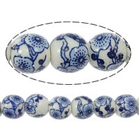 Blue and White Porcelain Beads, Round, printing, with flower pattern, 8mm, Hole:Approx 2mm, Length:Approx 15.5 Inch, 50PCs/Strand, Sold By Strand