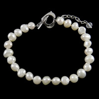 Freshwater Pearl Bracelet, 6mm, 7-8mm, Length:7.5 Inch, Sold By Strand