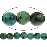 Natural African Turquoise Beads, Round, different size for choice, Grade AA, Hole:Approx 1mm, Length:Approx 15 Inch, Sold By Strand