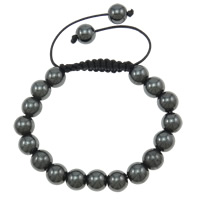 Hematite Woven Ball Bracelets, with Wax Cord, handmade, 10mm, Length:Approx 7.5 Inch, Sold By Strand