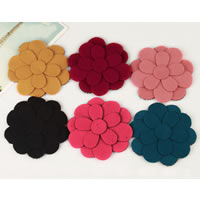 Cloth Magic Hair Pad, Flower, mixed colors, 80mm, 75PCs/Lot, Sold By Lot
