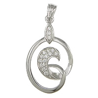 Cubic Zirconia Micro Pave Sterling Silver Pendant, 925 Sterling Silver, Bean, plated, Customized & micro pave cubic zirconia, more colors for choice, 15x24x2.5mm, Hole:Approx 3.5x4mm, Sold By PC