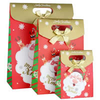 Christmas Shopping Bag, Paper, with Satin Ribbon, different size for choice, multi-colored, 12PCs/Bag, Sold By Bag