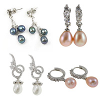 Freshwater Pearl Brass Earring