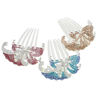 Decorative Hair Combs, Zinc Alloy, Flower, silver color plated, with rhinestone, mixed colors, nickel, lead & cadmium free, 74x85x20mm, 12PCs/Bag, Sold By Bag