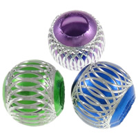Aluminum Beads, Round, painted, carved, more colors for choice, lead free, 16mm, Hole:Approx 5mm, 1000PCs/Bag, Sold By Bag