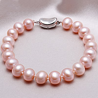 Freshwater Pearl Bracelet, brass bayonet clasp, natural, purple, 8-9mm, Sold Per Approx 7.5 Inch Strand