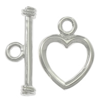 Sterling Silver Toggle Clasp, 925 Sterling Silver, Heart, single-strand, more colors for choice, Sold By Set
