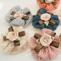 Fashion Decoration Flowers, Wool, with Satin Ribbon, handmade, mixed colors, 73mm, 100PCs/Bag, Sold By Bag
