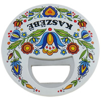Zinc Alloy Bottle Opener, with Resin, Flat Round, with magnetic & with flower pattern, nickel, lead & cadmium free, 93x8mm, Sold By PC