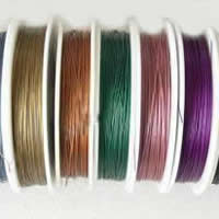 Tiger Tail Wire, with Plastic, plated, with rubber covered & 7-yarn & steel diameter: 0.5mm, more colors for choice, 0.6mm, Length:70 m, Sold By PC