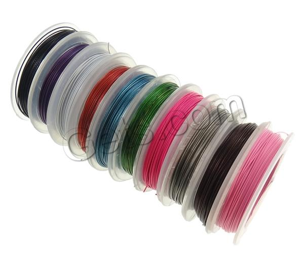 Tiger Tail Wire, with plastic spool, with rubber covered, more colors for choice, Length:Approx 100 m, Approx 10PCs/Lot, 10m/PC, Sold By Lot