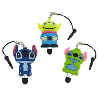 Soft PVC Earphone Dust Jack Cap Plug, with Plastic & Aluminum & Stainless Steel, Cartoon, with screen pen & different designs for choice, 30-31x48-49x14mm, 4mm, 4.5mm, Sold By PC