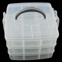 Plastic Bead Container, Rectangle, transparent, 155x165x126mm, Sold By PC