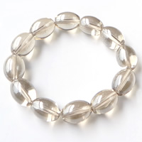 Crystal Bracelets, with Elastic Thread, Oval, Lt Mocca, 16x12mm, Length:Approx 8 Inch, Sold By Strand