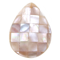 Pink Shell Pendant, Teardrop, mosaic, 30.5x41x9mm, Hole:Approx 1.5mm, Sold By PC