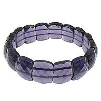 Crystal Bracelets, Rectangle, faceted, Amethyst, 16x12.5x7mm, Hole:Approx 1mm, Sold Per 8 Inch Strand