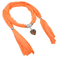 Polyester and Cotton Scarf, with Lampwork & Copper Coated Plastic & Iron, gold sand, orange, 45x53x7mm, Sold Per 177 cm Strand