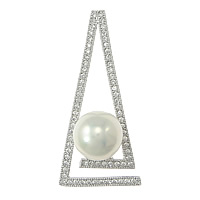 Cultured Pearl Sterling Silver Pendants, 925 Sterling Silver, Triangle, micro pave cubic zirconia, more colors for choice, 19x40x11mm, Hole:Approx 3x5mm, Sold By PC