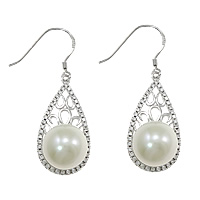 Sterling Silver Pearl Drop Earring, 925 Sterling Silver, Teardrop, micro pave cubic zirconia, 14x41x12mm, Sold By Pair
