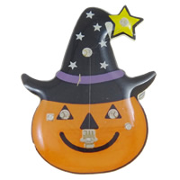 Halloween Brooch, Resin, with Plastic & Iron, Pumpkin, Halloween Jewelry Gift & LED, orange, 27x35x11mm, Sold By PC