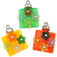 UV Plating Acrylic Pendants, Square, with flower pattern & with rhinestone, more colors for choice, 32x45x14mm, Hole:Approx 3mm, Sold By PC
