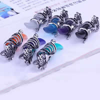 Stainless Steel Pendants, 316L Stainless Steel, with Resin, Horn, blacken, more colors for choice, 19x50mm, Hole:Approx 3-5mm, Sold By PC