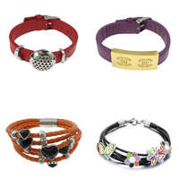 Leather Cord Stainless Steel Bracelets