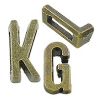 Fashion Zinc Alloy Slide Charm, Letter, plated, Customized & different designs for choice, more colors for choice, nickel, lead & cadmium free, Hole:Approx 2x7mm, 100PCs/Bag, Sold By Bag