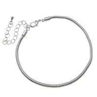 Brass European Bracelet Chain, with 8cm extender chain, platinum color plated, different size for choice & Customized & snake chain, nickel, lead & cadmium free, 3mm, Sold By Strand