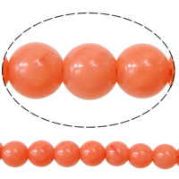 Natural Coral Beads, Round, reddish orange, Grade AA, Length:16 Inch, 94Strands/KG, Approx 92PCs/Strand, Sold By KG