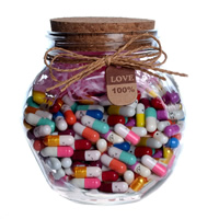 Glass Wish Bottle, with wood stopper & Linen, with paper tag & with love capsule pill inside & transparent, 115x120mm, Sold By PC