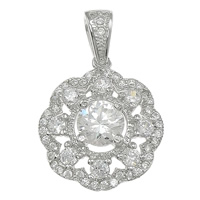 Cubic Zirconia Micro Pave Sterling Silver Pendant, 925 Sterling Silver, Flower, plated, micro pave 47 pcs cubic zirconia, more colors for choice, 15x18x6mm, Hole:Approx 3x5mm, Sold By PC