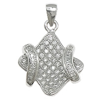 Cubic Zirconia Micro Pave Sterling Silver Pendant, 925 Sterling Silver, Rhombus, plated, micro pave 60 pcs cubic zirconia, more colors for choice, 15x19x5mm, Hole:Approx 4x6mm, Sold By PC