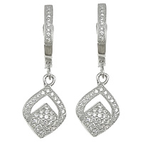 Cubic Zirconia Micro Pave Sterling Silver Earring, 925 Sterling Silver, Leaf, plated, micro pave 94 pcs cubic zirconia, more colors for choice, 10x15x4mm, 28mm, Sold By Pair