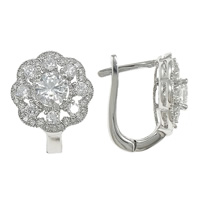 Cubic Zirconia Micro Pave Sterling Silver Earring, 925 Sterling Silver, Flower, plated, micro pave 82 pcs cubic zirconia, more colors for choice, 13x16x14mm, Sold By Pair