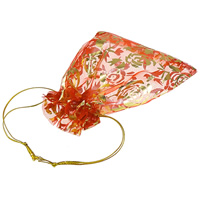 Organza Jewelry Pouches, with Metallic Cord, Rectangle, with flower pattern, more colors for choice, 98x123mm, Sold By PC