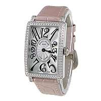 Zinc Alloy Leather Watch, Cowhide, with zinc alloy dial, Rectangle, platinum color plated, Switzerland movement & micro pave cubic zirconia, pink, 41x27mm, 15mm, Length:Approx 9 Inch, Sold By PC