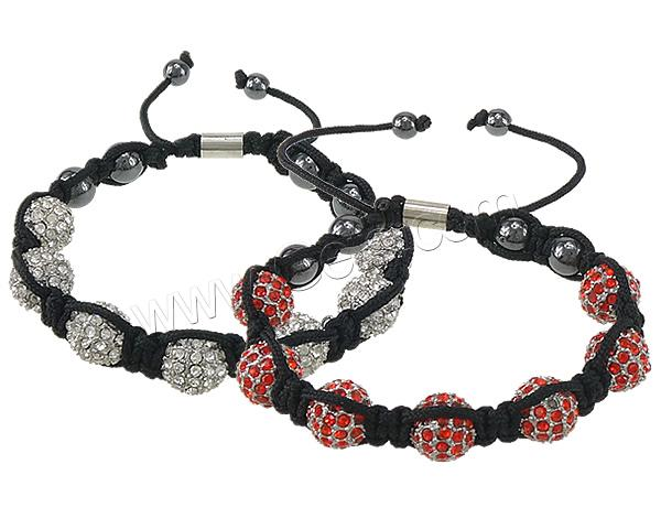 Rhinestone Shamballa Bracelets, Zinc Alloy, with Nylon Cord & Non magnetic Hematite, plated, Customized & with rhinestone, more colors for choice, lead & cadmium free, 32x27mm, 4x6mm, Sold Per 6-11 Inch Strand