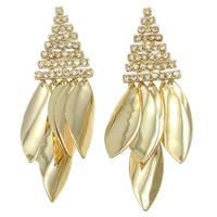 Zinc Alloy Rhinestone Chandelier Earring, stainless steel earring post, Leaf, plated, with Czech rhinestone, more colors for choice, nickel, lead & cadmium free, 18x53x5mm, 12Pairs/Bag, Sold By Bag